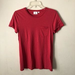 Ag Adriano Goldschmied Cotton Pocket Tee Red S